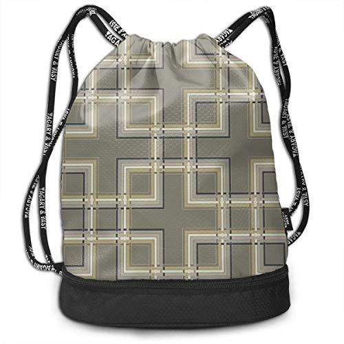 Bolsas de Cuerdas,Bolsas de Gimnasia,Mochilas Tipo Casual, Vintage Pattern with Cubes Vector Image Multifunctional Beam Drawstring Backpack Unisex Suitable for Outdoor Travel