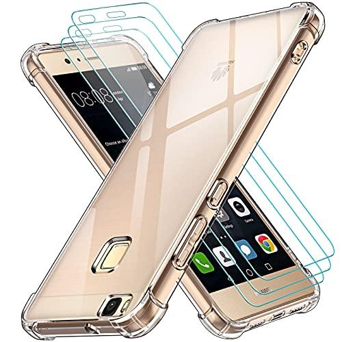 ivoler Funda para Huawei P9 Lite + 3 Unidades Cristal Vidrio Templado Protector de Pantalla, Ultra Fina Silicona Transparente TPU Carcasa Airbag Anti-Choque Anti-arañazos Caso