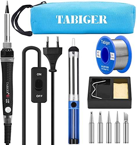Kit del Soldador Tabiger, Soldador Electrico con Temperatura Ajustable e interruptor de...