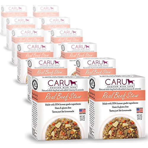 Caru Real Beef Stew for Dogs, Natural Adult Wet Dog Food with Added Vitamins & Minerals, Free From Grain, Wheat & Gluten (Pack of 12)