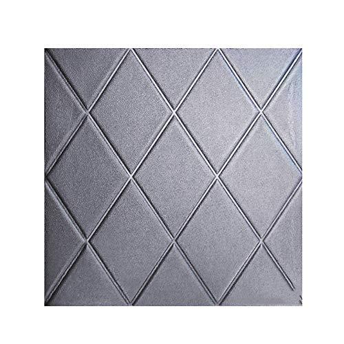 CAOXN 10Pcs 3D Diamant Wandpaneele Wandaufkleber, PE Foam DIY Selbstklebende Tapete Für Wohnzimmer Home Office Dekoration,Grau