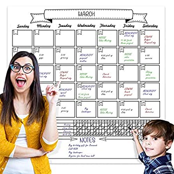 Jumbo Dry Erase Laminated Wall Calendar Huge 36 Inch by 36 Inch Size Monthly Planner for Home Office Classroom Goal Tracker Reusable PET Film Never Folded Includes 5 Markers 8 Tacks 1 Eraser
