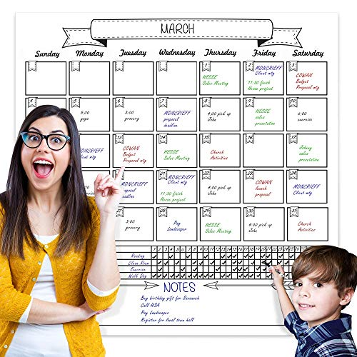 Jumbo Dry Erase Laminated Wall Calendar, Huge 36 Inch by 36 Inch Size, Monthly Planner for Home Office Classroom, Goal Tracker, Reusable PET Film, Never Folded, Includes 5 Markers, 8 Tacks, 1 Eraser