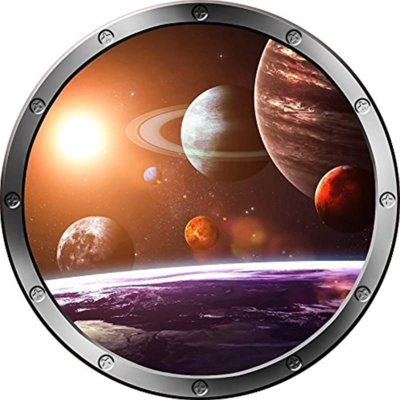 12 Porthole Outer Space Window Solar System 1 Round Silver Instant View Wall Graphic Kids Sticker Room Decal Art D Cor Small