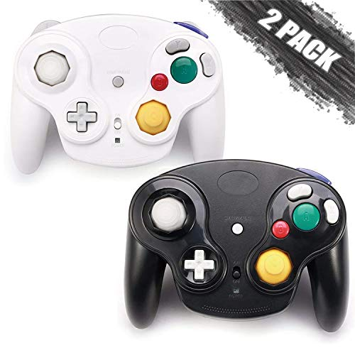 GALGO Wireless Gamecube Controllers, Classic Gamecube Wavebird Wireless wii Controller Remote Gamepad Joystick for Nintendo Gamecube Console, Compatible with Wii (White and Black)