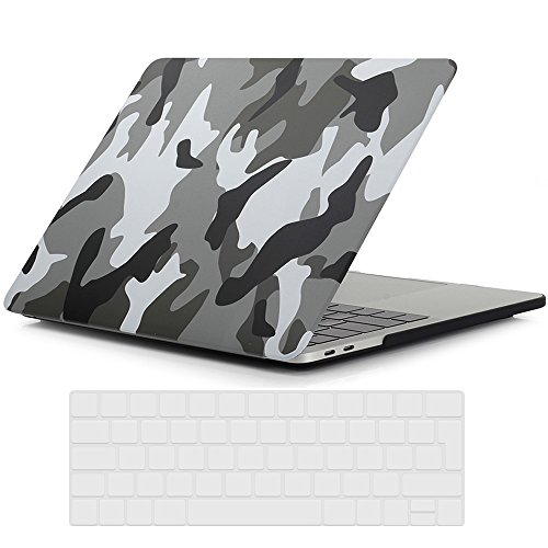 RYGOU Camouflage Pattern Hard Case with Keyboard Skin for Macbook Pro 13 inch with Touch Bar and Touch ID Model:A1706 (Released in Oct 2016)