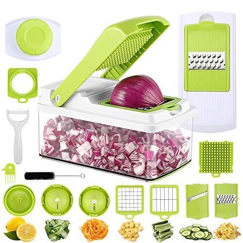PREUP Mandolina Verduras 11 en 1 Cortador de Verduras y Frutas, Cortador en Espiral Multifuncional, con 7 Piezas de Cuchillas Mandolina Slicer con Cepillo para Limpieza