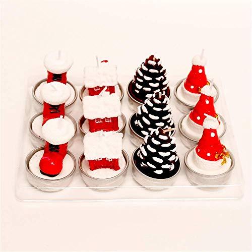 LHX Weihnachtskerzen-Geschenkset, Weihnachtsmann-Weihnachtsbaum, Innendekoration, Weihnachtsgeschenkbox, Aluminiumschalenboden, 1-2 Stunden Brenndauer, (E)