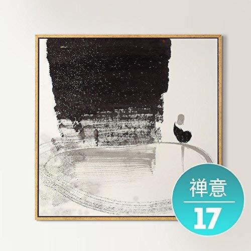 MWPO Pintura Decorativa del avión Nuevo Chino Zen salón decoración Pintura Pintura sofá Fondo de Pared Moderno Pintura al óleo Minimalista Pintura de Tinta, 40 * 40 cm