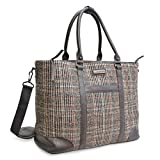 Adrienne Vittadini 12' Laptop Travel Tote With Pockets Great for Travel, College and School (Wool Black Plaid)