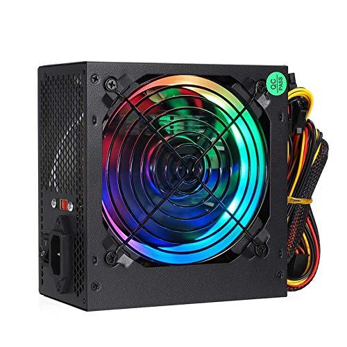 KOIJWWF 600W Fuente de alimentación 12 cm Multicolor LED RGB Fan 24 Pin PCI SATA 12V Power Fuente de alimentación de la computadora de la Fuente de alimentación de la Fuente de alimentación