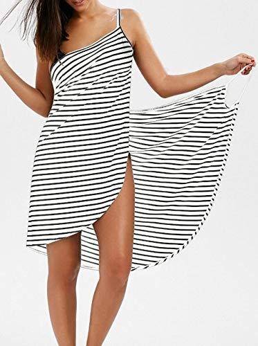 Heliansheng Toalla de Mujer Bata de baño Vestido de Toalla usable para Mujer Pijama de Playa de Secado rápido -2-M