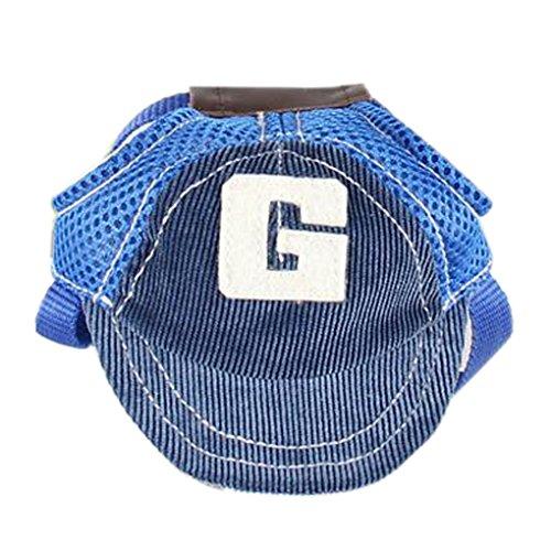 Befaith Breathable Haustier-Hund Baseballmütze Große Hunde Sports Sun-Hüte Justierbarer im Freienhut blau L