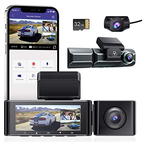 【3カメラ&32GBカード付き】ドライブレコーダー 前後カメラ 3カメラ同時録画 4K 800万画質 360度全方位保護 【 wifi搭載 GPS】24時間駐車監視 ドラレコ 車内外同時撮影 スーパーキャパシタ搭載 SONY IMX415センサ WDR搭載 超強暗視機能 赤外線搭載 ノイズ/LED信号機対策 32GBMicroSDカード同梱 超広角 ドラレコ 車内外同時撮影 Gセンサー 動体検知 衝撃録画 /ループ録画/タイムラプス動画 日本語説明書 36ヶ月品質保証 (磁気ブラケット)AZDOME M550
