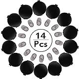 Outus 14 Pièces Tampon Encreur d'Empreinte Tampon Encreur Professionnel pour Doigts Tampon à Encre Effaçable à Séchage Rapide avec Empreintes Noires Claires pour Identification et Sécurité ID, Rond