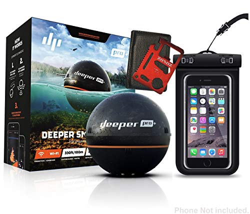 Deeper Smart Sonar PRO+ Series, 2.55', Black - GPS, Wi-Fi Connected Wireless, Castable, Portable Smart Fishfinder for iOS & Android Devices, Z-Tool & Universal Waterproof Cellphone Case (Bundle)