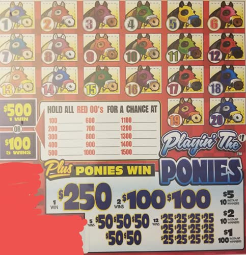 Playin' The Ponies Bingo Pull Tabs Game