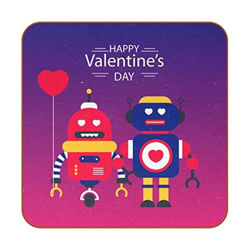 Juego de 6 posavasos de diseño único para posavasos de mesa con posavasos antideslizantes en la parte trasera de la taza de regalo, set de regalo de Happy Valentine's Day Robot Love