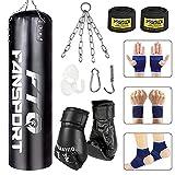 Fansport 14 PCS Saco de Boxeo,3.2 FT Punching Bag sin Relleno con Guantes De Entrenamiento Tailandeses Saco Boxeo Adulto para Entrenar Ejercicio Físico Y Deportivo(Negro)