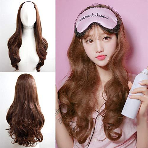 Perruque pour femme - Cheveux longs ondulés et longs bouclés - Marron foncé