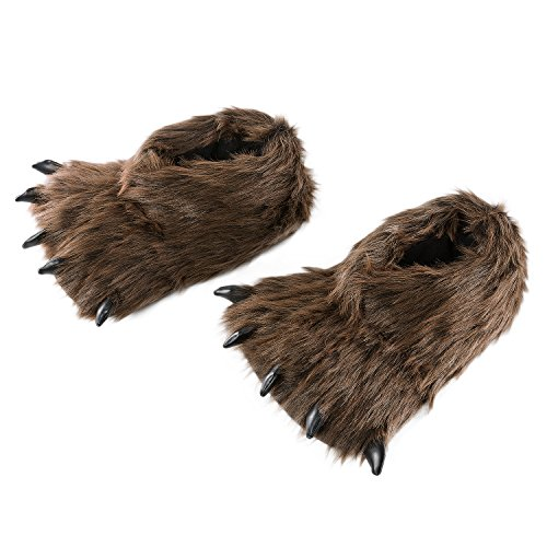 HollyHOME Claws Shoes Plush Slippers Plush Bear Paw Slippers Animal House Slippers 10 inches Brown