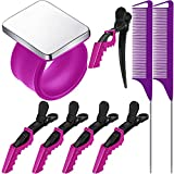 Magnetic Wrist Sewing Pincushion Pin Holder Wristband Pin Cushion Holder with 2 Pieces Stainless Steel Pintail Rat Tail Comb 5 Pieces Wide Teeth Alligator Sectioning Hair Clip for Hair Sewing (Purple)