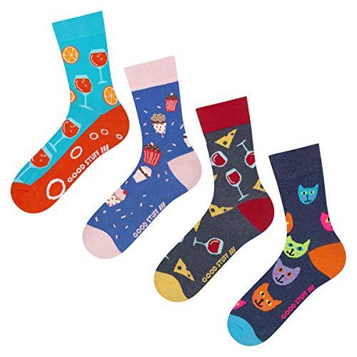 soxo Damen Bunte Muster Socken Set (4 Paar) | Größe 35-40 | Motivsocken aus Baumwolle | Lustige Geschenk für Frauen