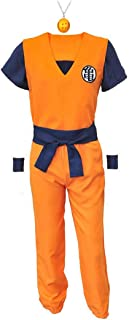 Goku Costume Cosplay, Unisex Dragon Ball Z Costume Cloth with 4 Star DBZ Necklace for Kid Adult Men Women Christmas