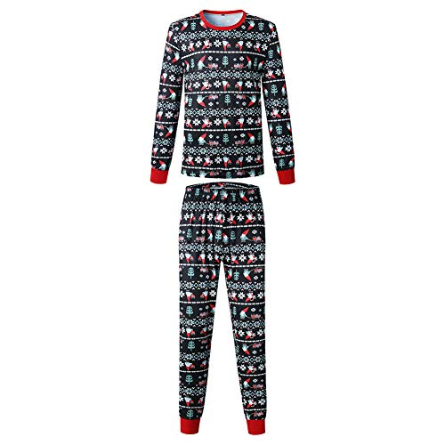 Xoiuel - Juego de pijama de Navidad de manga larga impresa para el hogar (padre 2XL)