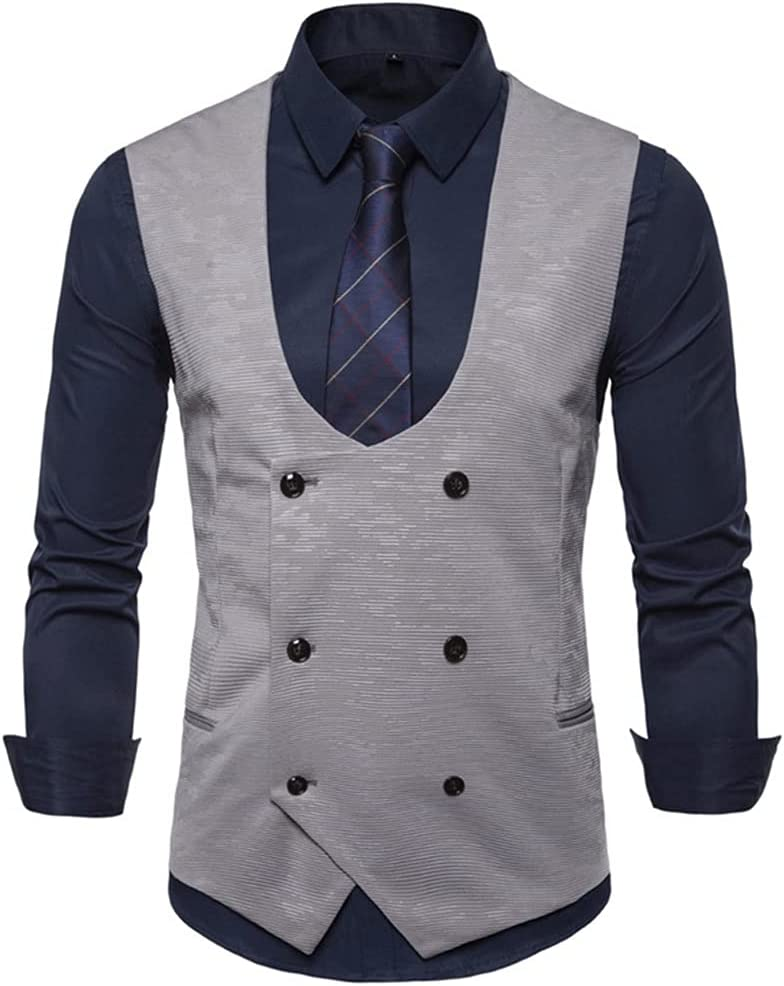 YFQHDD Suit Vest Fashionable Men Double Mens Clothing 2021 spring and summer new Busin Wedding Breasted