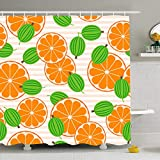 DANGCCI Shower Curtain Set with Hooks 72x72 Inches Green Berry Gooseberries Oranges Juice Gourmet Ripe Fruit Food Drink Dessert Diet Sour Flat Garden Bathroom Waterproof Polyester Fabric Bath Decor
