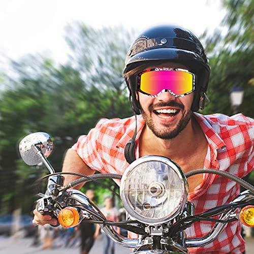 Gafas de esquí para mujer, hombres y mujeres adolescentes, compatibles con un casco OTG, protección antivaho de 100 UV, gafas de esquí antideslumbramiento, para esquí, Snowboard