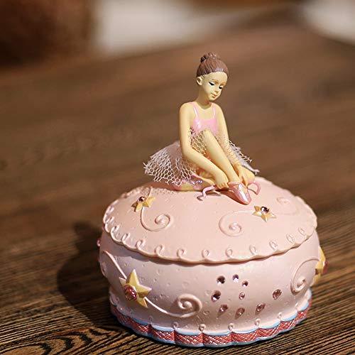 XCXDX Spieluhr, Rosa Ballerinamädchen-Schmuckaufbewahrungsbox, Harzverzierung, Geschenk Für Mädchen, Melodie des Schlosses Im Himmel