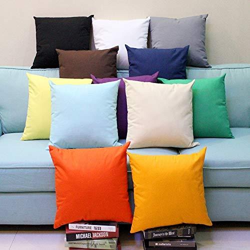 Thinkway 40/45/50/55/60 cm x 40/45/50/55/60 cm Funda de cojín sólida para cama sofá funda de almohada decoración del hogar (relleno no incluido)