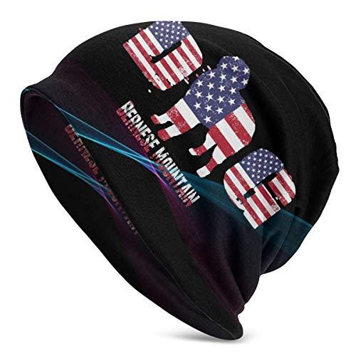 shenguang Bandera Americana Patriótico Bernese Mountain Dog Unisex Gorro de Punto Gorros elásticos Suaves Gorro de Calavera Gorro de Cobertura, Beanie Hat