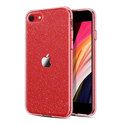 "ORNARTO Crystal Glitter Hülle für Neu iPhone SE 2020, Sparkly Bling Robuste, Stoßfeste Glitzer TPU Silikon Handyhülle für Neu Apple iPhone 7/8/SE (2020) 4.7 ""-Rose"