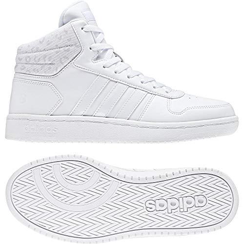 Adidas Hoops 2.0 Mid W, Zapatillas de Deporte para Mujer, Blanco (Ftwbla/Ftwbla/Griuno 000), 44 EU