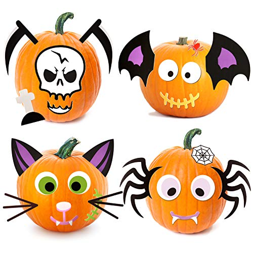Joyjoz pegatinas de espuma de calabaza de Halloween, 25 piezas de calabaza, kit de manualidades para decoración de fiesta de Halloween, bonita decoración de Halloween