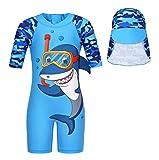 WonderBabe Kids Swimming Costume One Piece Swimwear Shark Sun Protection Boy Swimsuits Anti-UV Bathing Suit 2-3 Years