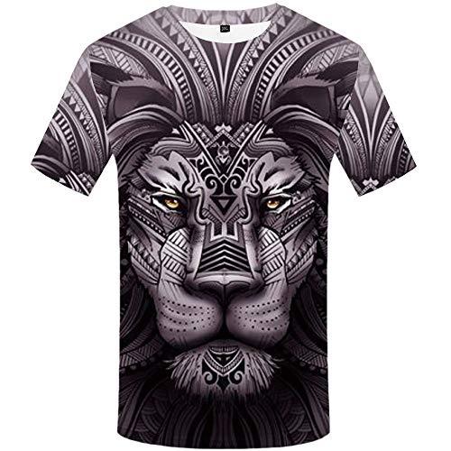 NSBXDWRM 3D Printed Shirts,Unisex Novelty Creatieve Tijger Totem Dier 3D Print Grafische Korte mouw T-Shirt Zomer Paar Mode Casual Snel Drogen Grote Tees Tops