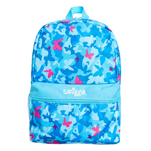 Smiggle Giggle Kids School Backpack with 2 Zipped compartments for Boys and Girls | Butterfly Print