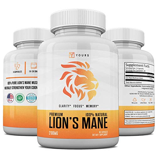 Natural Lions Mane Mushroom Capsules - Made in USA - Max Strength Immune System Booster 2100 mg Lion's Mane Powder in Veggie Capsules - Nootropic Supports Brain Functions - Memory GMO-Free Supplement