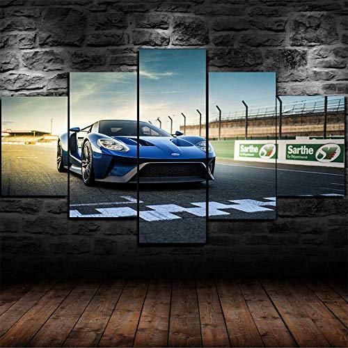 AWER Tejido no Tejido Impresión GT Super Car Racing Track Car Canvas Wall Art,Decoracion de Pared,5 Piezas Lienzos Cuadros Pinturas,Cuadro sobre Lienzo,Listo para Colgar,en un Marco