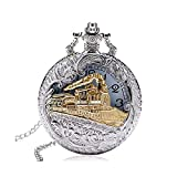 TPSKY Antique Pocket Watch,Hollow Locomotive Train Large Pocket Watch with Chain,Steampunk Pocket Watch, Best Gift for Men Women Boys, Christmas Birthday Graduation (Silver)
