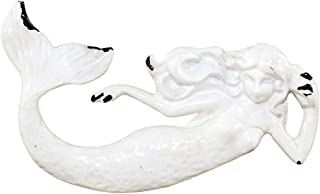 World Buyers Rustic Metal White Mermaid Drawer Pull, Dresser Knob Decor Beach Nautical with Attached Screw