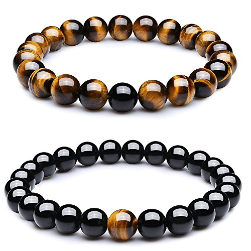 Wanmei 8mm Black Matte Agate & Tiger Eye Healing Energy Stone Beads Distance Bracelets for Couples(2 pcs)