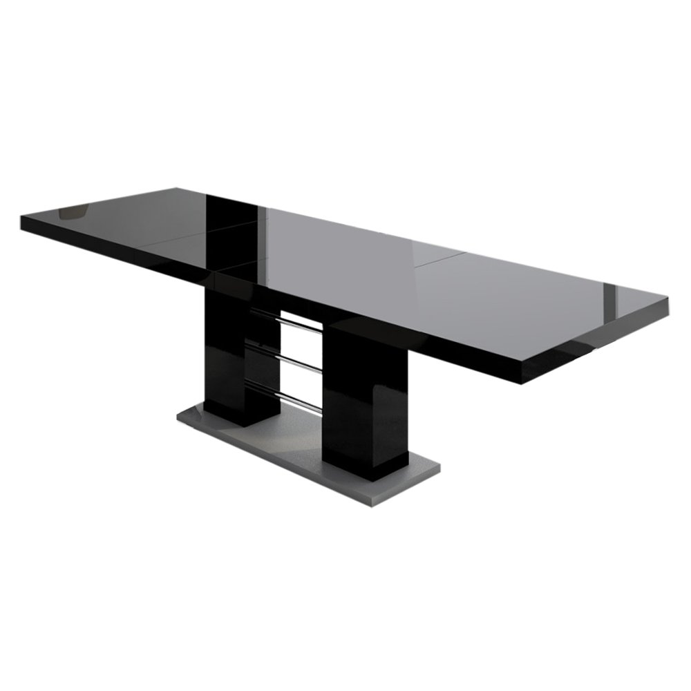 Amazon Com Linosa High Gloss Dining Table With Extension Black Tables