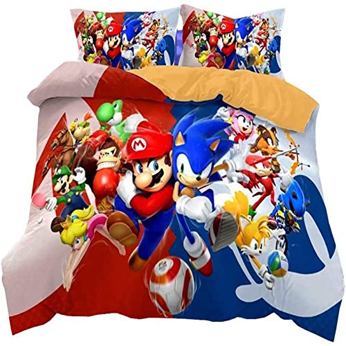 THAVASAM Sonic Duvet Cover Set, 3D Sonic Anime Digital Print, Breathable, Comfortable For All Seasons, The Hedgehog Children's Duvet Cover Set, Polyester Bevel (01.180 x 210 cm)