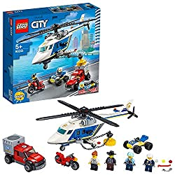 This multi-vehicle set includes a cool ATV quad bike, a helicopter toy, motorbike and a getaway truck toy for fun car-chase police action The helicopter toy comes with a powerful magnet for lifting the criminals' getaway vehicle and has room for all ...