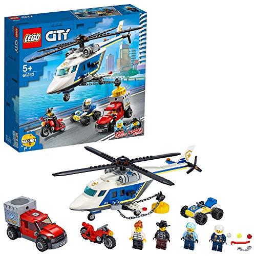LEGO 60243 City Verfolgungsjagd mit dem Polizeihubschrauber, Quad, Motorrad und Pickup, Bausets für Kinder ab 5 Jahren